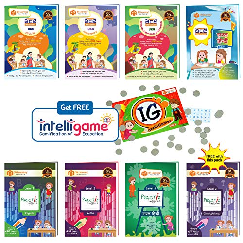 UKG Kids (4-6 Years) All-in-One 656 Pages ACE Early Learning Worksheets & Writing Practice in English, Mathematics, Hindi, General Knowledge / EVS (KG 2) 8 Books Paperbacks Bundle from 3H Learning