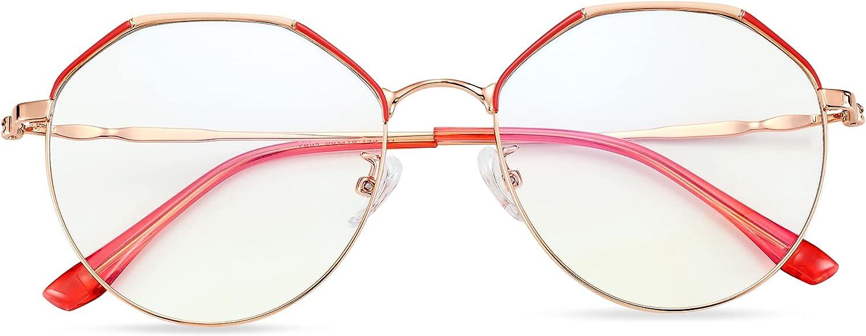 LAVIGO Blue Light Blocking Glasses for Women Men TV Computer Screen Use, Preventing Eyestrain Filter Harmful Blue Ray Glasses, Lightweight with Metal Frame (Red)