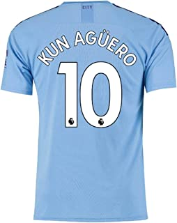 LAPINLE Manchester City 2019-2020 New Season 10 KUN Aguero Home Mens Soccer Jersey Color Blue
