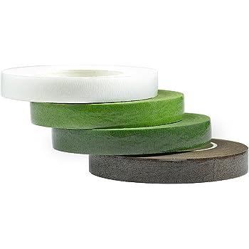 フローラテープ 造花テープ ライトグリーン グリーン ホワイト ブラウン 4巻入 幅12mm×長さ30m巻