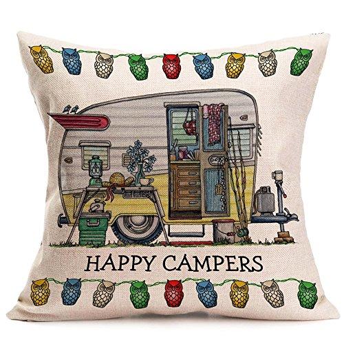 Qinqingo Katoen Linnen Vierkant Gelukkig Campers Patroon Slaapbank Bed Taille Kussen Cover