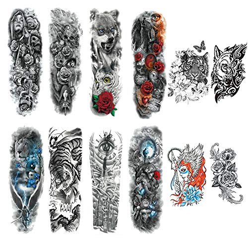 Temporary Tattoos for Adults, Tattoo Sleeves for Men Women, Fake Military Warrior Tattoo Stickers Lion Tiger Wolf Flower for Party and Daily (12 Sheets)