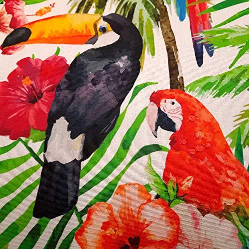 Stoff Meterware Tukan Ara Kakadu bunt Dschungel Outdoorstoff wasserabweisend lichtecht Teflon Dralon Gartentischdecke Kissenbezug Terrassenmöbel
