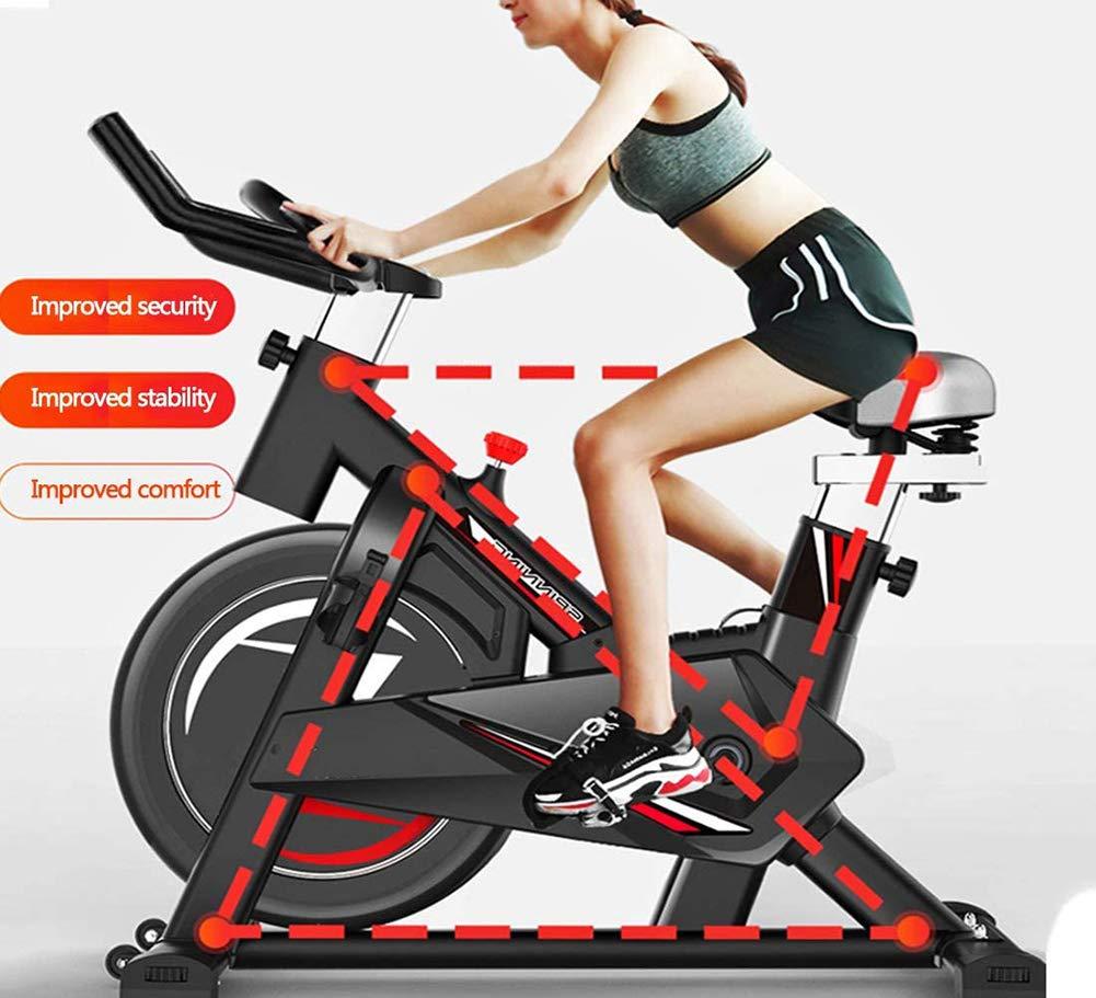 La Bici De Ciclo Indoor, Silent Bici del Ciclo De La Correa De Transmisión con Un Manillar Y Asiento Ajustable, Volante Cromado, 5-Función De Comprobación,Equipamiento Deportivo: Amazon.es: Hogar
