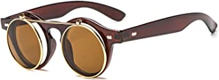 Vintage Round Steampunk Flip Up Sunglasses Classic Double Layer clear Glasses for men and women