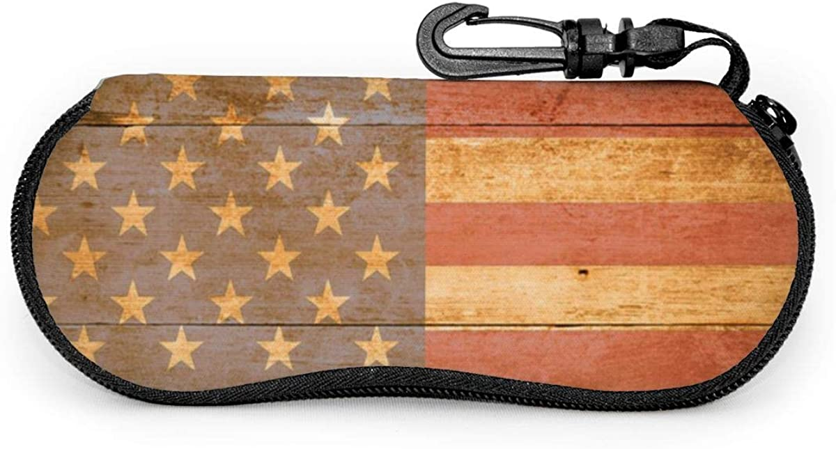 Board American Flag Glasses Case Unisex Eyeglasses Protective Case Zipper Eyeglass Box With Key Chain Universal Fits