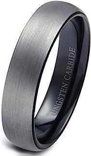 حلقه های تنگستن Tungary for Men برای عروسی گروه عروسی براش سیاه 6mm اندازه 6-14