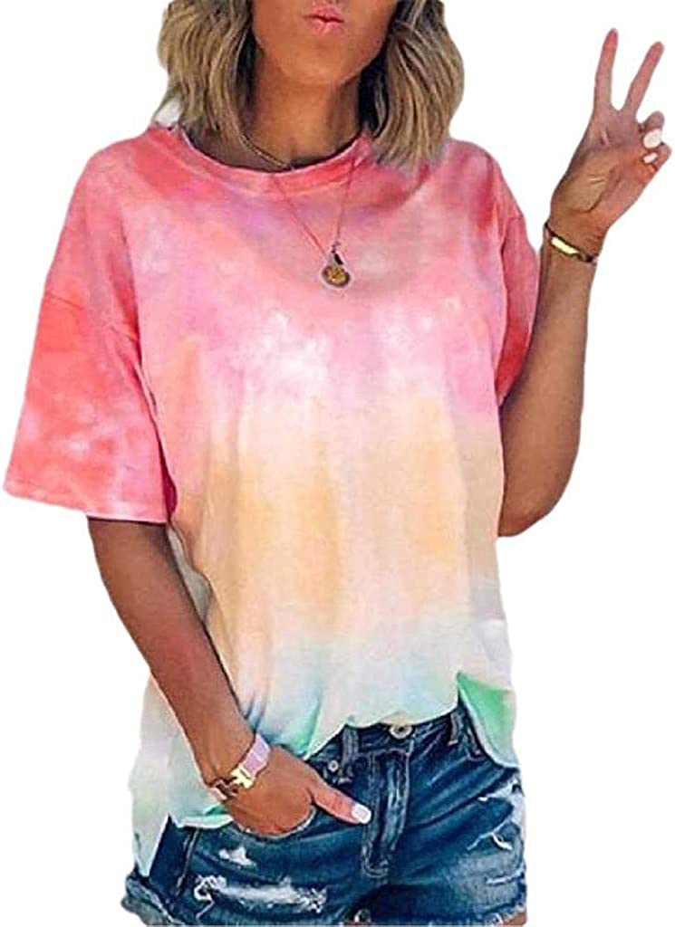 AODONG Shirts for Women Plus Size Tops for Women, Womens Casual T-Shirt Solid Color Stitching Knotted Blouse Short Sleeve O-Neck Shirt Tunic Top Pink