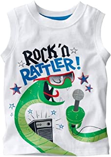 SZCQ Little Boy Tank Tops Rock Rattler Cotton Sleeveless Baby Boys Tee Shirts Vest Singlet 2 3 4 5 6 T