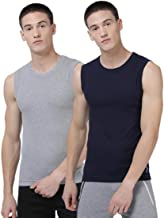 Levi's Men's 100% Cotton 100 CA Solid Sleeveless Gym Vest (Pack of 2)