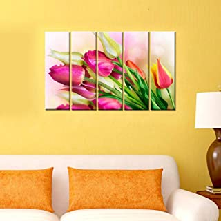 WallMantra Flower Wall acrylic Painting/5 Pieces Canvas Print Wall Hanging/Stretched and Framed on Wood/Home Decor for Liv...