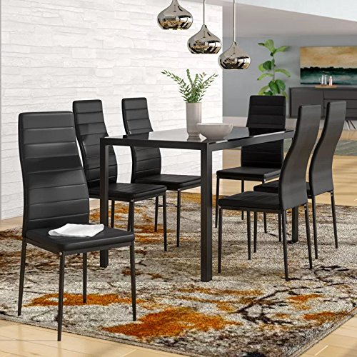IDS Home 7 Piece Glass Top Dining Set for 6 Kitchen Table and Chairs Set Home Furniture Dinette Set Rectangular Table Black