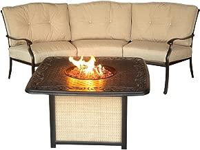 Cambridge CON2PCFP-CAST Concord 2Piece Chat Set with Cast-Top Fire Pit Outdoor Furniture, Tan