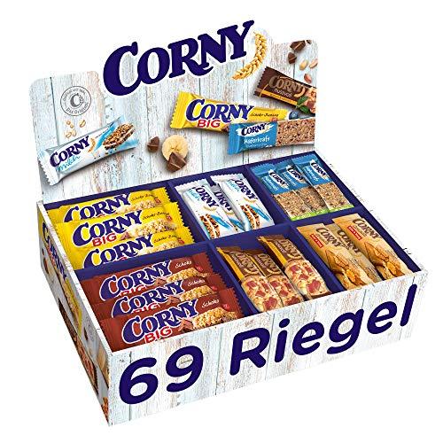 Corny Bestseller-Box, Big Schoko, Big Schoko-Banane, Nussvoll Erdnuss & Vollmilch, Milch Classic, Haferkraft Blueberry-Chia, Crunch Hafer & Honig im Thekendisplay mit 69 Riegeln