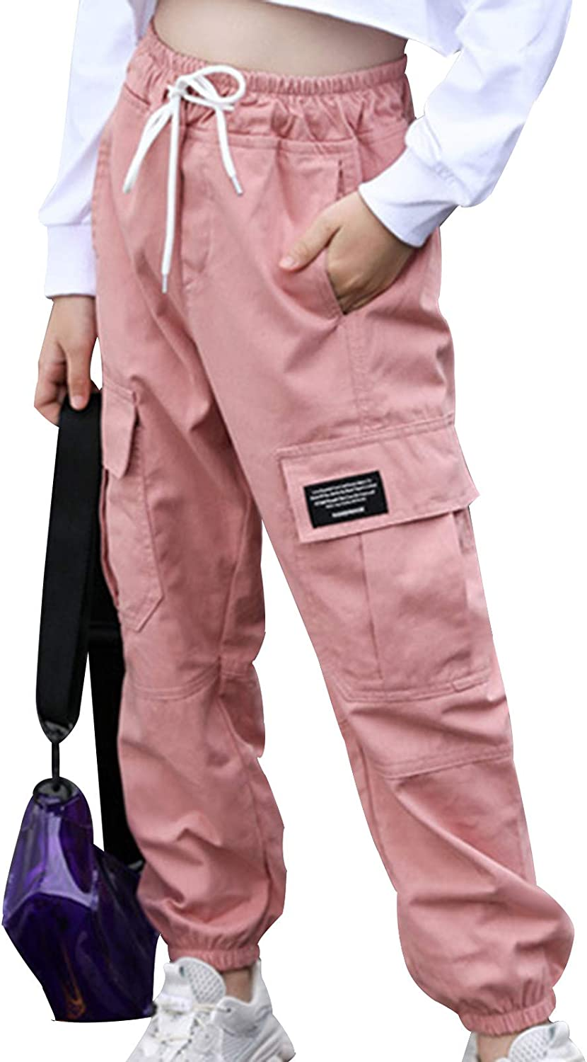 easyforever Kids Girls Cargo Jogger Pants Sports Pockets Trousers Sweatpants Cotton Fashion Bottoms with Drawstring
