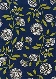 """Moretti Crowne Indoor/Outdoor Area Rug 8327L Blue Patio Floral 5' 3"""" x 7' 6"""" Rectangle"""