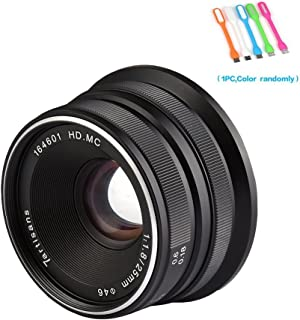 7artisans 25mm F1.8 Large Aperture Manual Focus Prime Fixed Lens Compatible for Fuji Cameras X-A1,X-A10,X-A2,X-A3,X-at,X-M1,XM2,X-T1,X-T10,X-T2,X-T20,X-Pro1,X-Pro2,X-E1,X-E2 -Black (25mm F1.8 Fuji)
