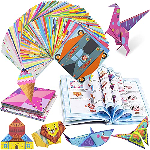 Origami Paper for Kids 224 Sheets, Hawanik Origami Kits Including Double Sided Print Origami Paper, Flower Patter Craft Folding Papers with Craft Guide Books