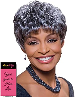 Sassy Wig Color FS4/30 - Foxy Silver Wigs Short Pixie Wavy Synthetic Feathered Bangs African American Women's Machine Wefted Lightweight Average Cap Bundle with MaxWigs Hairloss Booklet