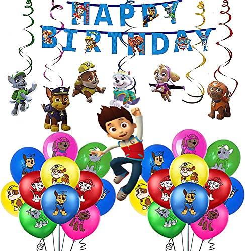 Decorazione di compleanno di Paw Patrol per bambini, palloncini di compleanno di Paw Patrol con striscione di buon compleanno e decorazione per festa di compleanno di Paw Patrol Cane da appendere