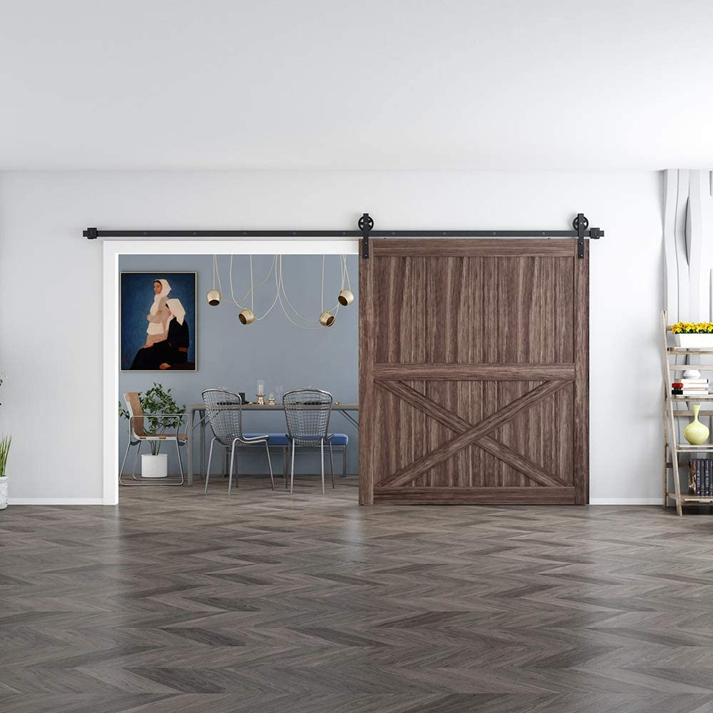 skysen 11FT Single Door Sliding Barn Door Hardware Track Kit Black Big Wheel