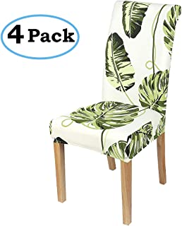 misaya Stretch Dining Room Chair Cover Spandex Removable Washable Tropical Monstera Printing Chair Slipcover for Kitchen, Set of 4, Style 2