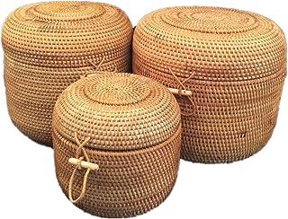 Panier De Rangement en Rotin Lot de 3 Barrel rotin Stockage Bain Panier de Rangement Handwoven Stockage Toy Bin for Le Sal...