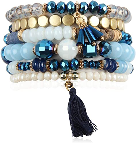 RIAH FASHION Multi Layer Versatile Statement Bracelets - Stackable Beaded Strand Stretch Bangles Sparkly Crystal, Woo...