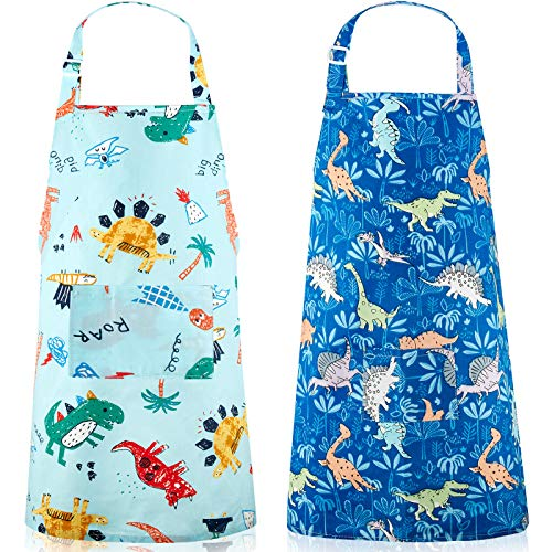 2 Pieces Kids Aprons Children Cartoon Kitchen Aprons with Pockets Cute Cooking Chef Aprons for 3 - 5 Years Children Painting Cooking Baking Party, 19.3 x 18.9 Inch (Dinosaur Style)