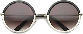 Oversize Two-Toned Frame Slim Metal Temple Gradient Lens Round Sunglasses 54mm