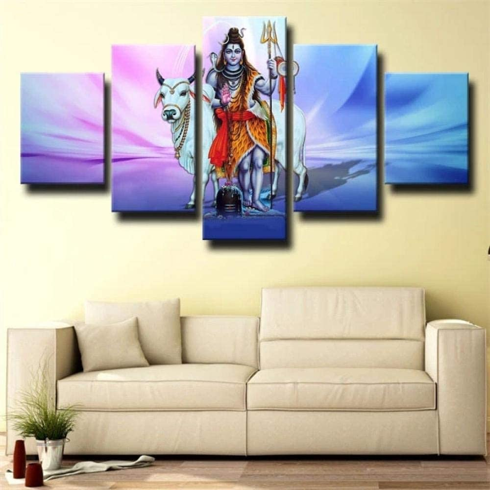 5 piezas de arte de pared Dios hindú tres ojos shiva impresión de lienzo de pared arte pintura impresión en lienzo 5 piezas cuadro sobre lienzo 5 piezas cuadro en lienzo impresión de 5 piezas 150x80