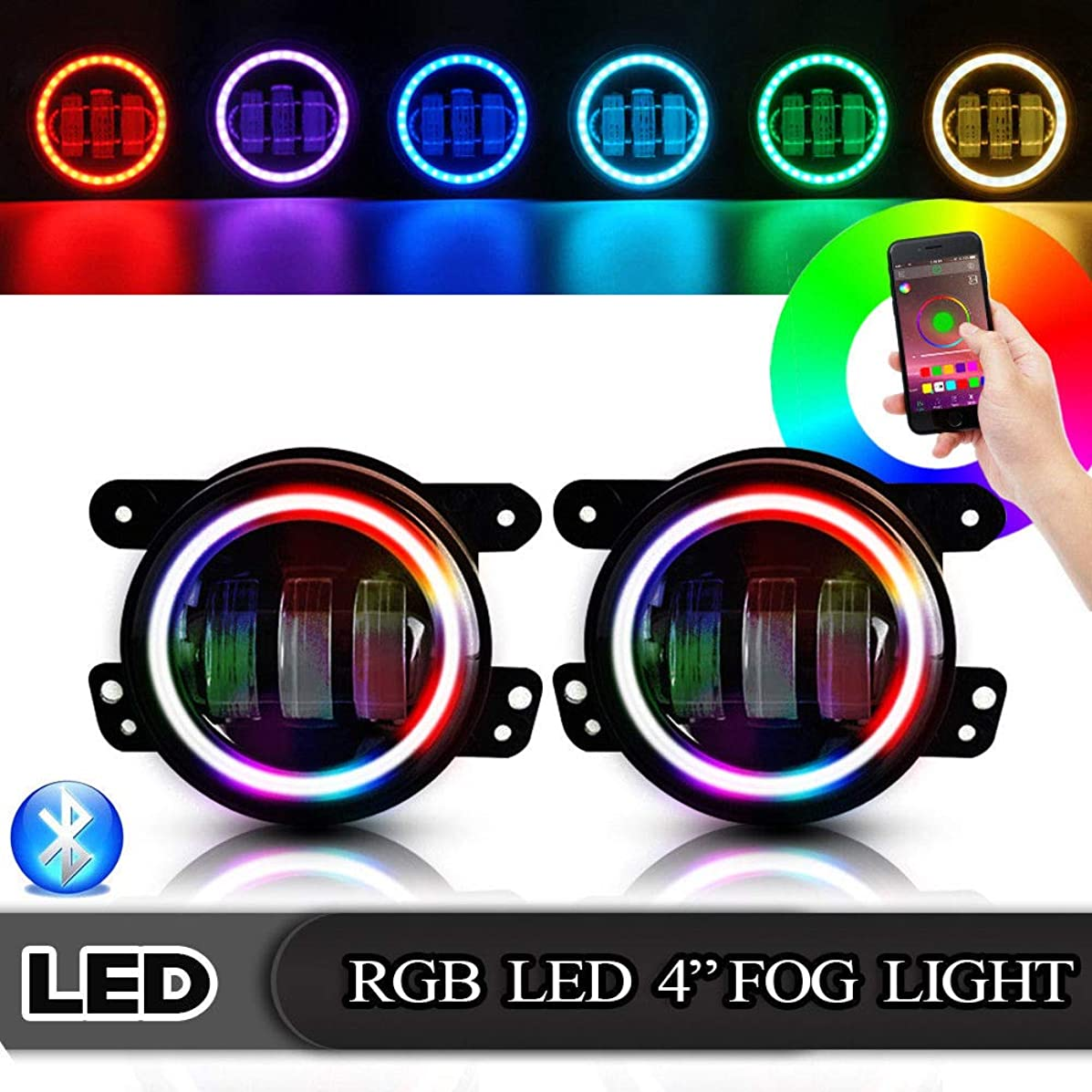 T-Former 4 Inch 30W Led Fog Lights with RGB Halo Ring DRL for Jeep Wrangler 2007-2018 JK JKU Off Road Tractor Boat Driving fog Lamp
