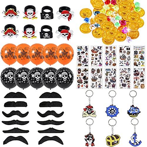 Colmanda Pirate Accessoires Set, 96 Pièces Anniversaire Pirate Cadeau, Pirate Tatouage Faux Moustache, Pirates Bagues Trousseau Porte Clés, Pirate Pièces...