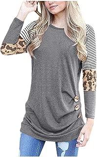 Gopeak 🌹 Women's Casual Round Neck Leopard Stripe Three Colorblock Long Sleeve Irregular Button T-Shirt