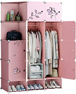 Armoire Toile Armoire Simple Moderne économique Plastique Assemblée Petite Chambre (Rose) Liuyu. (Size : 111x47x165cm)