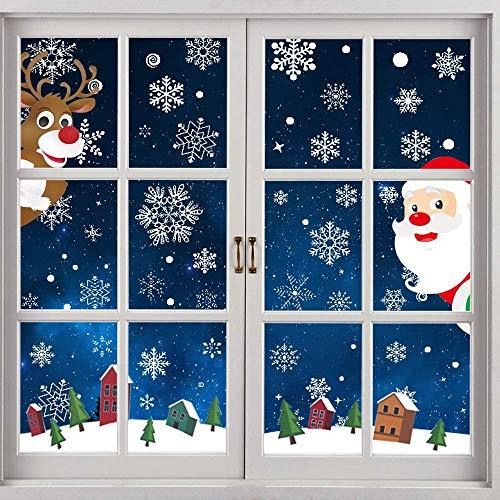 LATTCURE 8 Blätter Schneeflocken Fensterdeko Fensterbilder für Weihnachten Winter Dekoration Türen Schaufenster Schneeflocke Fensteraufkleber Spähen des Weihnachtsmanns Weihnachtselche