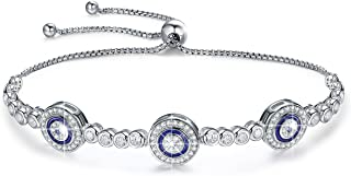 BAMOER 925 Sterling Silver Expandable Lucky Blue Evil Eye Chain Bracelet Necklace with Sparkling Cubic Zirconia for Women Girls