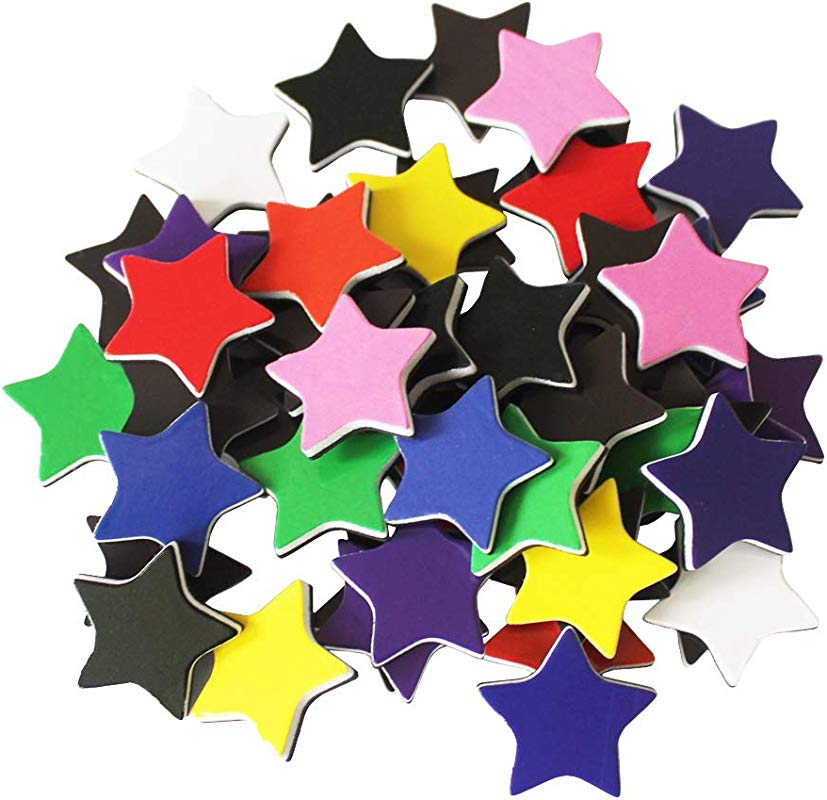 50 Pcs Star Shaped Colored Magnets For Class Whiteboard Chalkboard Reward Magnets For Chore Chart Behavior Chart Magnetic Sheet Calendar Lockers Pentagram
