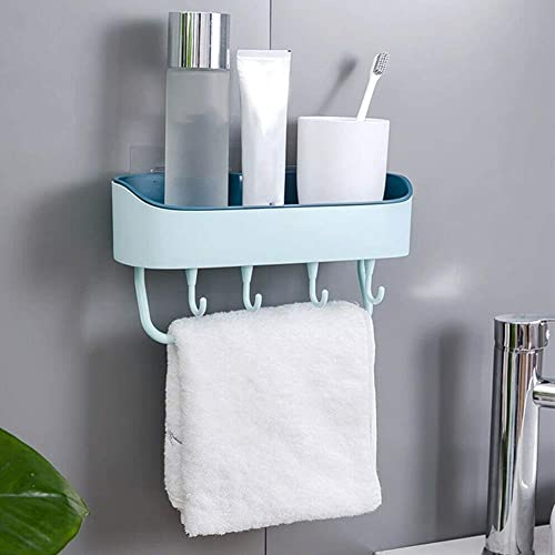 ARLICORPING Multipurpose Plastic Kitchen Bathroom Shelf Wall Holder Storage Rack Bathroom Rack Storage Box Strong Magic Sticker Shower Rack Shelf with 4 Hook 1 Pcs