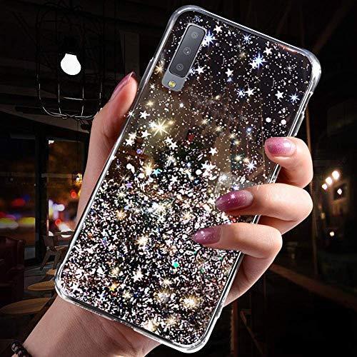 Uposao Kompatibel mit Samsung Galaxy A7 2018 Hülle Glitzer Diamant Sterne Glänzend Kristall Strass Bling Schutzhülle Crystal Clear Silikon Durchsichtig Hülle Ultradünn TPU Bumper Tasche,Schwarz