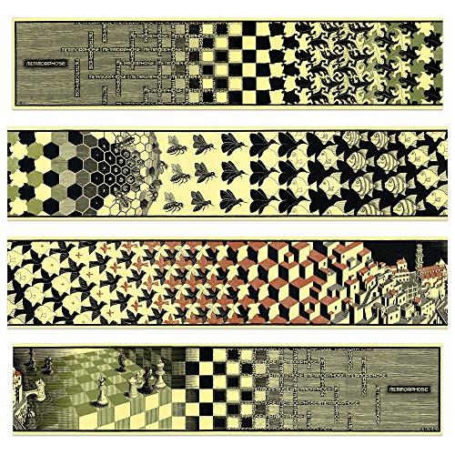 Artopweb Pannelli Decorativi Escher Metamorphosis II 1940 (4 MDF, Legno, Carta, Vernice, Multicolore, 100x1.8x22 cm