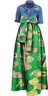 Womens African Print Dashiki Skirt High Waist Ball Gown Long Maxi A Line Skirts
