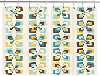 DYNH Retro Flowers Wallpaper Kitchen Curtains, Midcentury Geometric Floral Mod Pattern Window Curtain Treatment Panels Valance, Drapes 10PCS Hooks Included 55X39 Inches