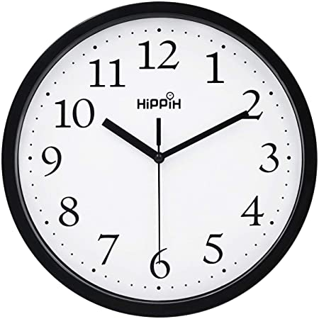 Amazon Com Urbanware Silent Decorative 10 Wall Clock Quartz Sweep Easy To Read Round Black Frame Battery Operated White Face 10 Inch Home Kitchen