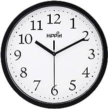 ساعت دیواری سیاه Hippih Silent Quartz Non-Ticking Quality ، 10 اینچ دور آسان برای ساعت مدرسه مدرسه