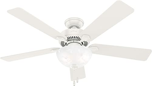 """new arrival Hunter Swanson Indoor Ceiling Fan with wholesale LED Lights and Pull Chain Control, high quality 52"""", Fresh White online"""
