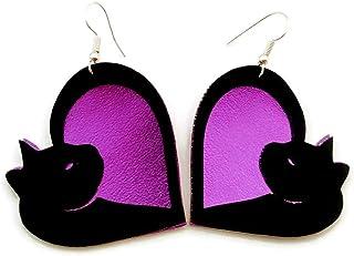Purple Kitty Cat Vegan Faux Leather Earrings Lightweight for Women and Girls