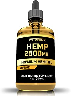 iVitamins Hemp Oil for Pain Anxiety Relief :: 2,500mg 4 fl oz :: May Help with Stress, Pain, Anxiety, Sleep, Depression, H...