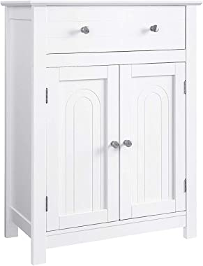 VASAGLE Free Standing Bathroom Drawer and Adjustable Shelf, Kitchen Cupboard, Wooden Entryway Storage Cabinet, 23.6 x 11.8 x