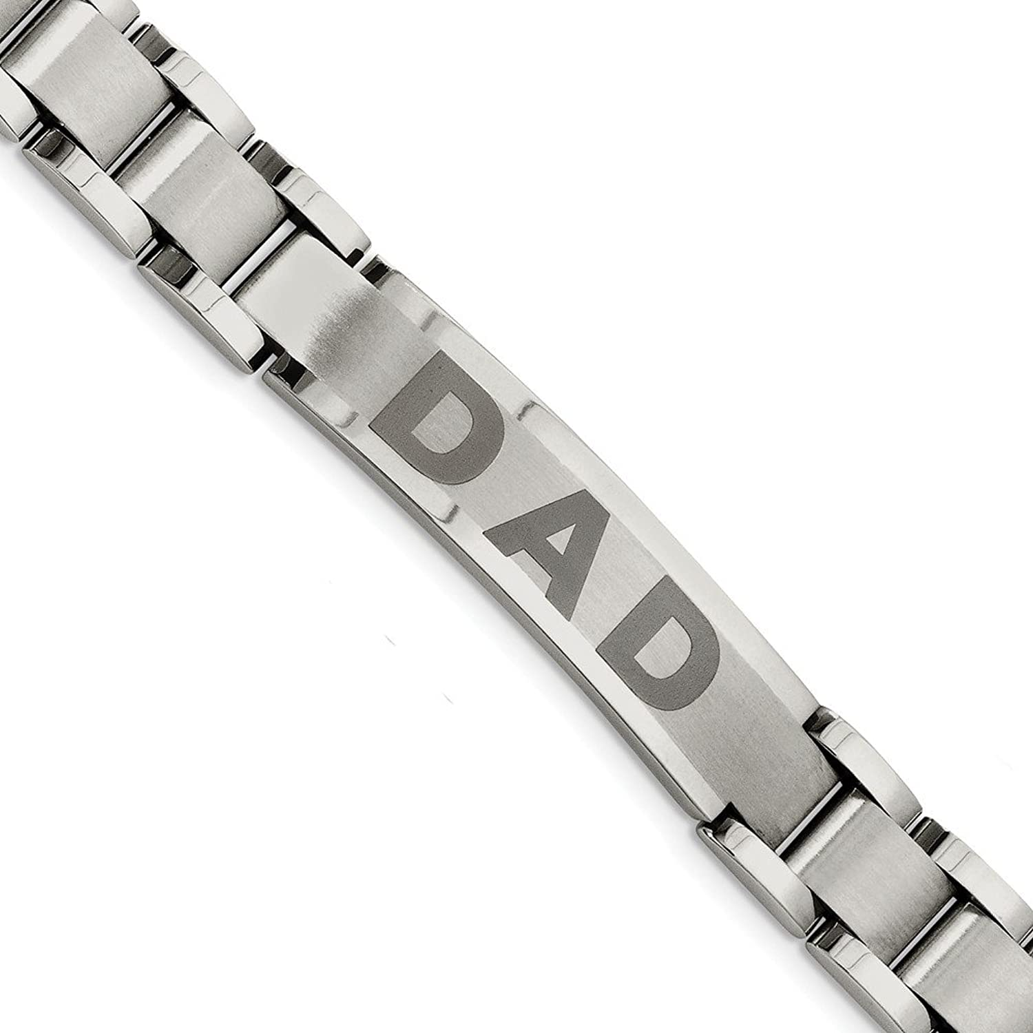 Beautiful Stainless Steel Brushed & Polished Dad Bracelet
